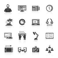 Conjunto de ícones freelance vetor