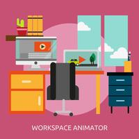 Animador de espaço de trabalho conceitual ilustração Design vetor