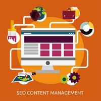 Ilustração conceitual de gerenciamento de conteúdo SEO Design vetor