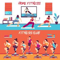 Conjunto de Banners de Fitness de classe em casa vetor