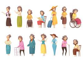 Conjunto de ícones de mulheres sênior dos desenhos animados