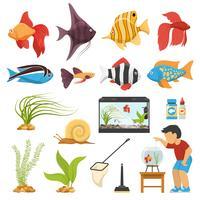 conjunto de peixes de aquário aquário vetor