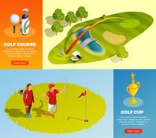Banners horizontais isométricos de golfe