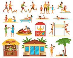 Conjunto de ícones decorativos de atividades de praia