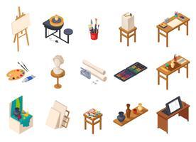 Conjunto de elementos de estúdio de arte