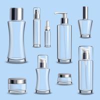 Conjunto realista de vidro para embalagem de cosméticos vetor