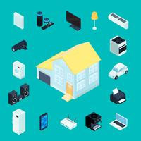 Ícones decorativos isométricos de casa inteligente