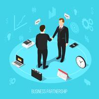 Fundo isométrico de parceria de negócios vetor