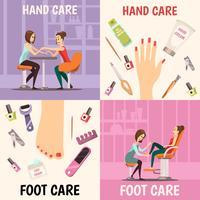 Conjunto de ícones de conceito de manicure vetor