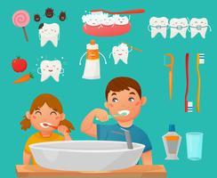Dentes escovando crianças Icon Set vetor