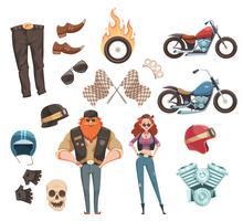 Coleção de elementos de motociclista