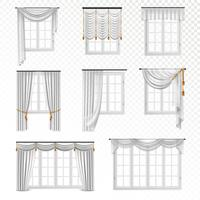 Conjunto de janelas de cortina realista vetor