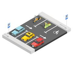 Composição isométrica de estacionamento