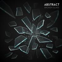 Fragmentos de vidro quebrado voando fundo escuro