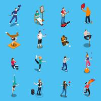 Conjunto de isométrica de artistas de rua