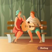 Namoro de floresta namoro fundo vetor