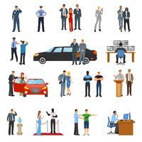 Conjunto de ícones de guarda-costas vetor