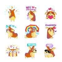 Corgi Dog Cartoon Message Coleção de ícones vetor