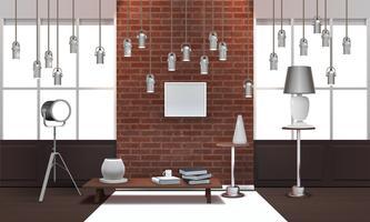 Interior Loft realista com lâmpadas de suspensão vetor