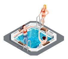 Conjunto isométrico de parque aquático vetor