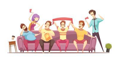 projeto retro dos desenhos animados do estilo de vida sedentariamente vetor