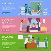 Banners Horizontais do Hospital Maternidade vetor