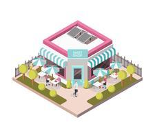 Loja de doces fora vista ilustração isométrica vetor