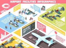 Infografia isométrica de aeroporto vetor