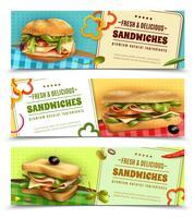 Banners de anúncio de sanduíches frescos saudáveis vetor