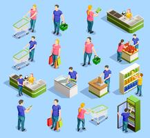 Coleção de elementos isométricos de supermercado