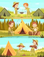 Atividades de escoteiros Cartoon conjunto de Banners vetor