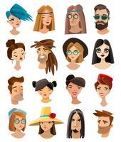 Avatares definidos no estilo dos desenhos animados vetor