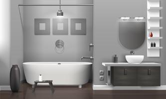 Interior do banheiro realista vetor