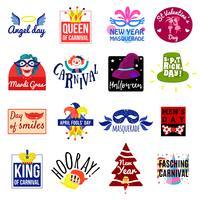 Conjunto de logotipo de rótulo de emblema de carnaval vetor