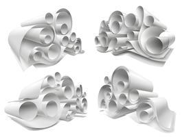 Conjunto de maquete de rolos de papel 3D vetor