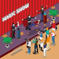Ilustração isométrica de show de mágica vetor