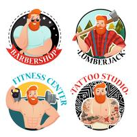 Quatro rótulos com ícones de homens brutais