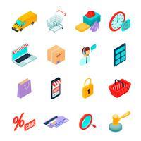 Ícones isométricos de compras de comércio eletrônico