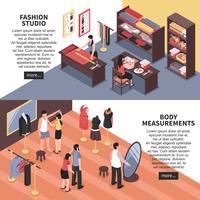 Estúdio de moda e medições corporais Banners horizontais vetor
