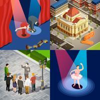 Conceito de Design Isométrico de Teatro