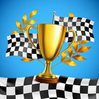 Cartaz realístico do troféu dourado do vencedor vetor