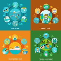 Conceito de Design plano de pesca vetor