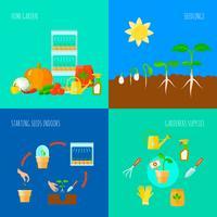 Conjunto de ícones de conceito de mudas vetor