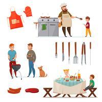 Conjunto de ícones de festa de churrasco vetor