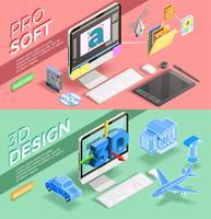 Banners isométricos de Design gráfico vetor
