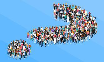conceito de design isométrico de ponto de interrogação de multidão vetor