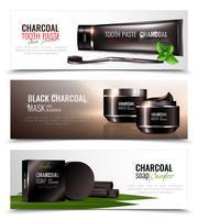 Conjunto de Banners de cosméticos de carvão vetor
