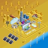 Cartaz isométrico da infraestrutura esperta da Internet da cidade