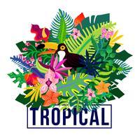 Composição colorida de plantas exóticas tropicais vetor