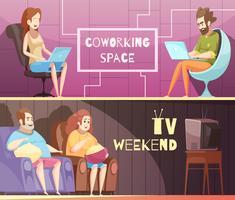 Banners retrô dos desenhos animados de estilo de vida sedentário vetor